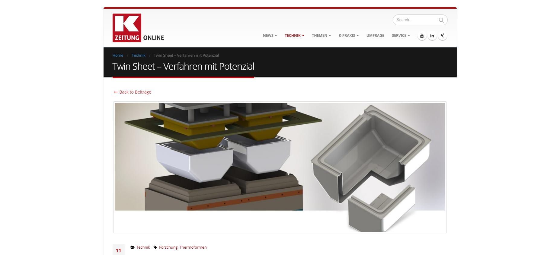 K-Zeitung Thermoformen Vakuumtiefziehen von transparenten Bauteilen